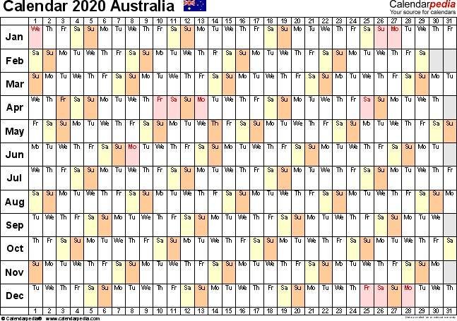 2020 Australian Calendar Printable Australia Calendar 2020 Free Printable Excel Templates