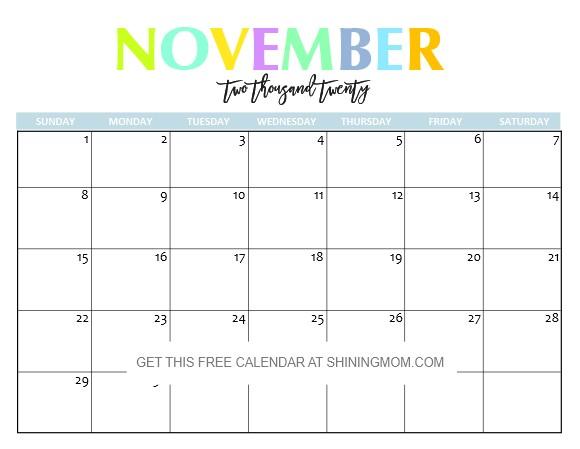 2020 Calendar November Printable Free Printable 2020 Calendar so Beautiful & Colorful