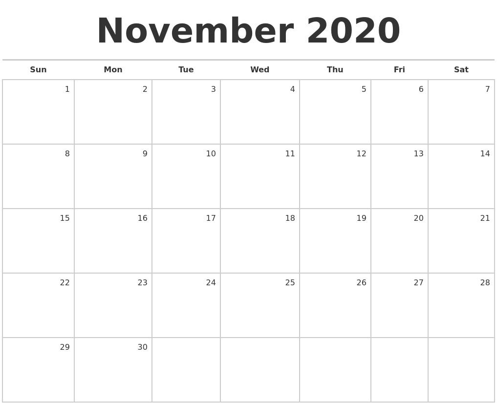 2020 Calendar November Printable November 2020 Blank Monthly Calendar