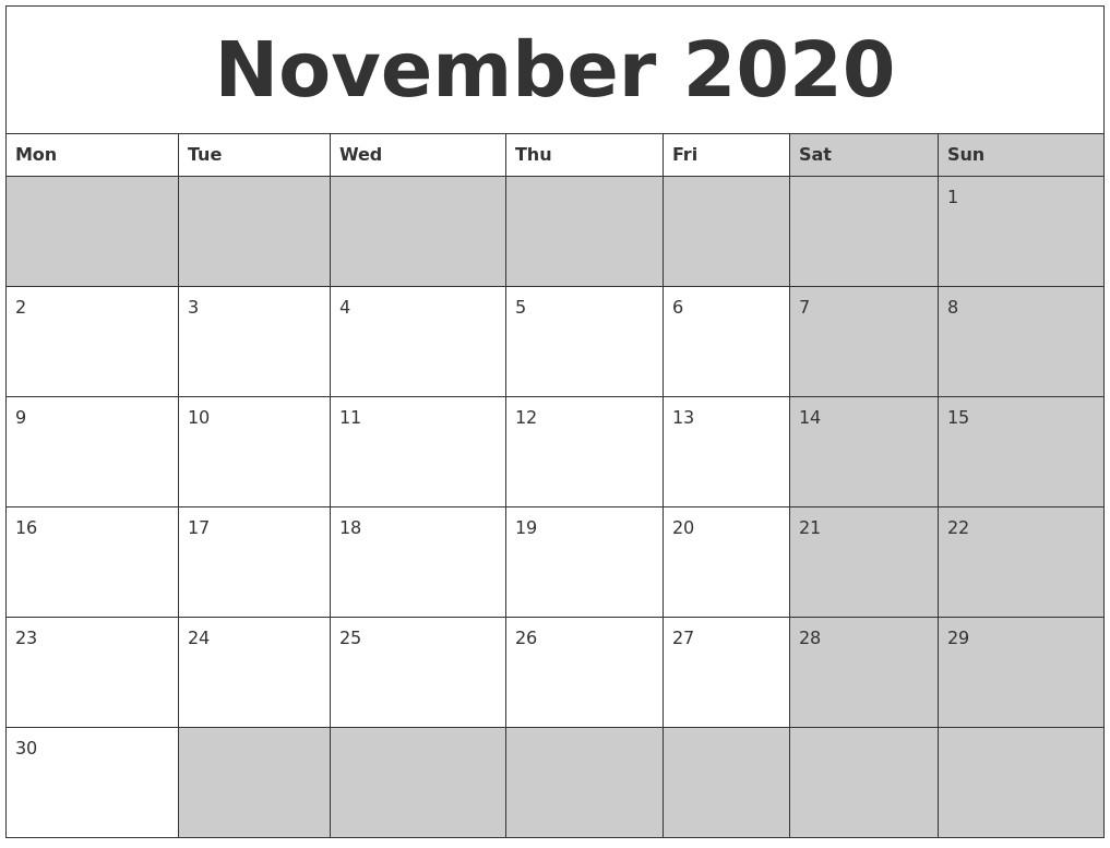 2020 Calendar November Printable November 2020 Calanders