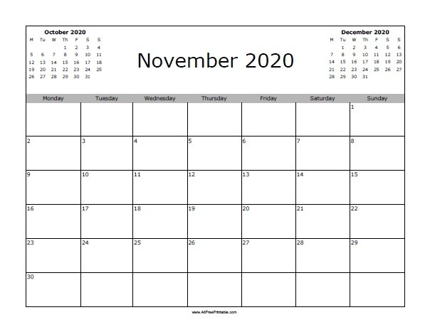 November 2020 Calendar Free Printable AllFreePrintable