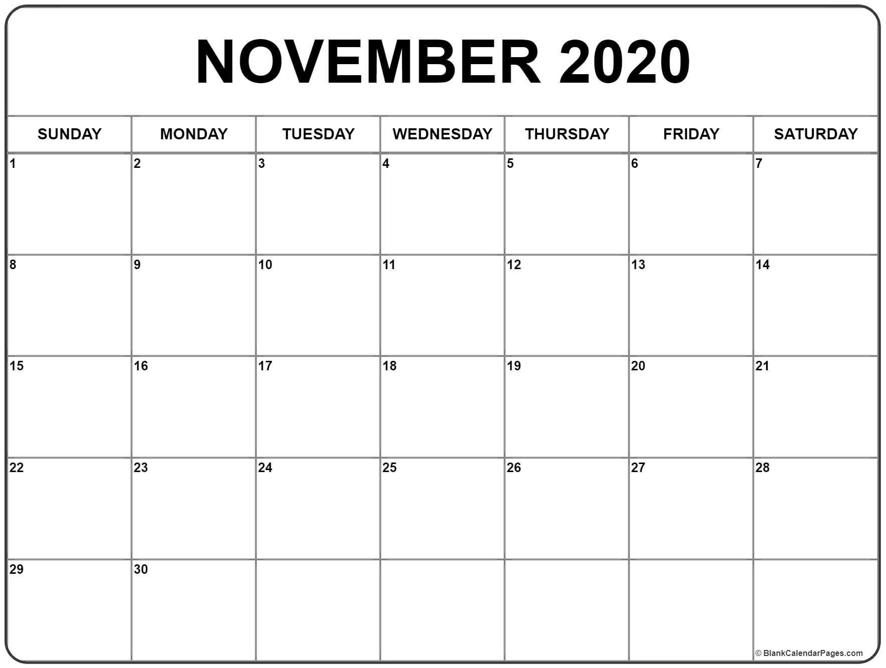 photo regarding Printable Calendar for November named 2020 Calendar November Printable November 2020 Calendar