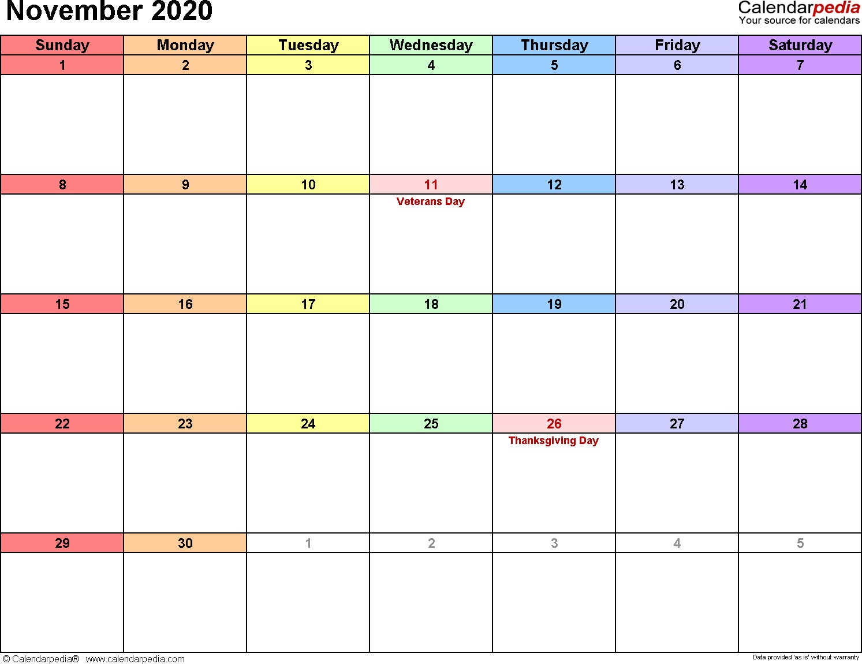 2020 Calendar November Printable November 2020 Calendars for Word Excel & Pdf