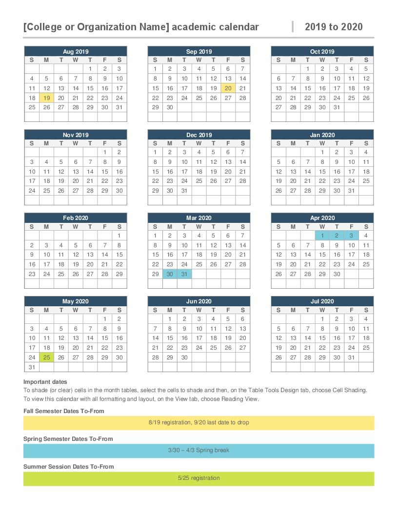 2020 Calendar Printable Microsoft Word 2019 2020 Academic Calendar