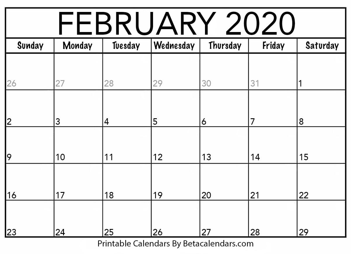 2020 February Printable Calendar Blank February 2020 Calendar Printable Beta Calendars