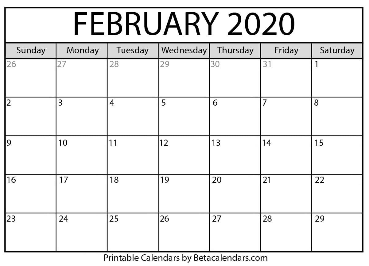 2020 February Printable Calendar