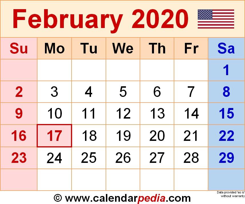 2020 February Printable Calendar February 2020 Calendars for Word Excel & Pdf