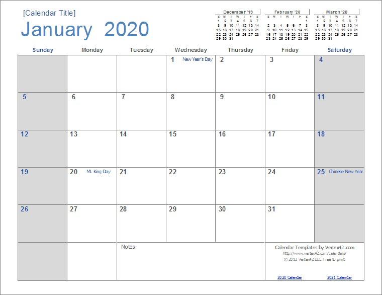 2020 Free Printable Monthly Calendar 2020 Calendar Templates and