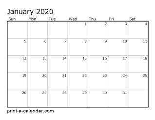 2020 Free Printable Monthly Calendar