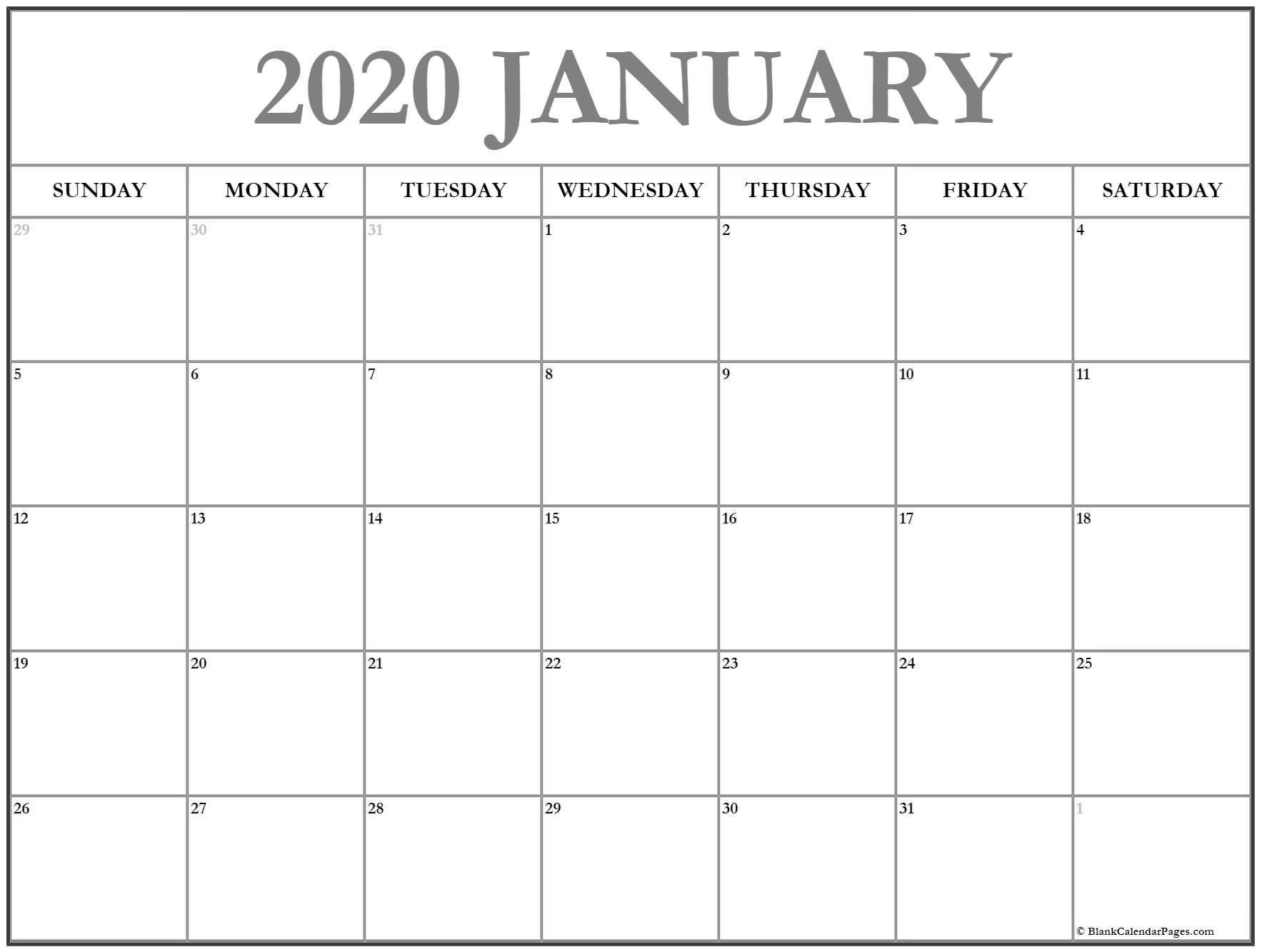 2020 Monthly Calendar Free Printable January 2020 Calendar
