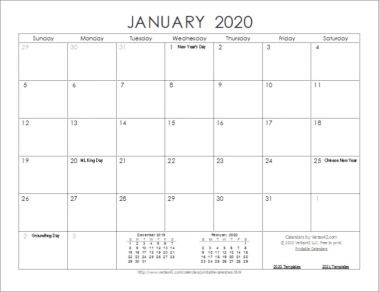 2020 Monthly Calendar Printable Free