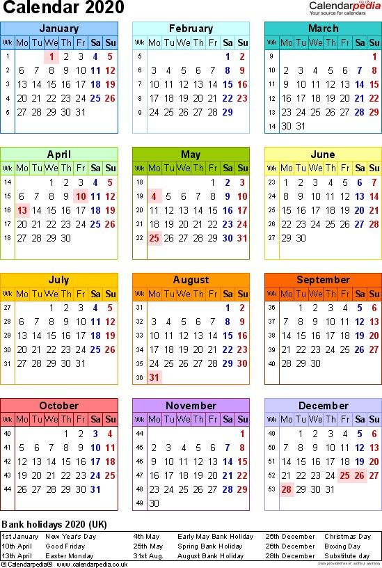 2020 Printable Calendar with Holidays Calendar 2020 Uk 16 Free Printable Word Templates
