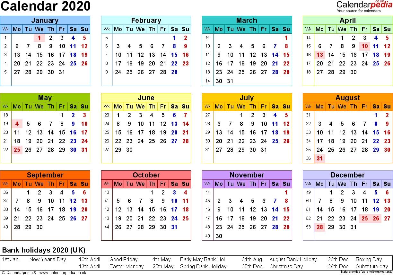 Excel Calendar 2020 UK 16 printable templates xlsx free