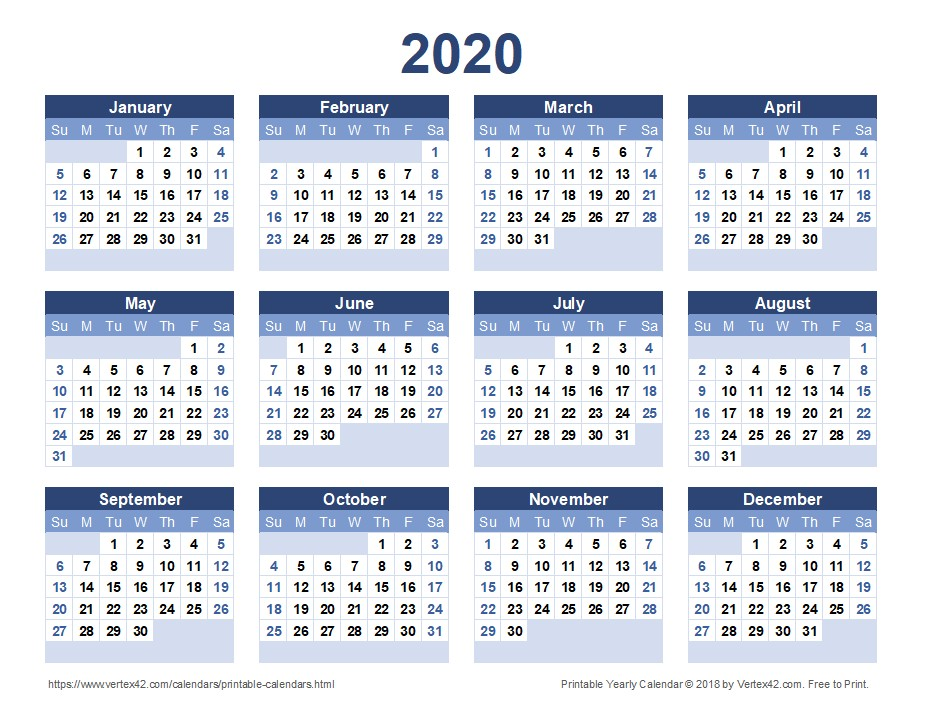 2020 Printable Calendar Yearly 2020 Calendar Templates and