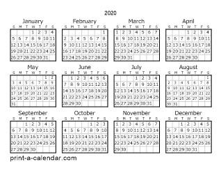 2020 Printable Calendar Yearly