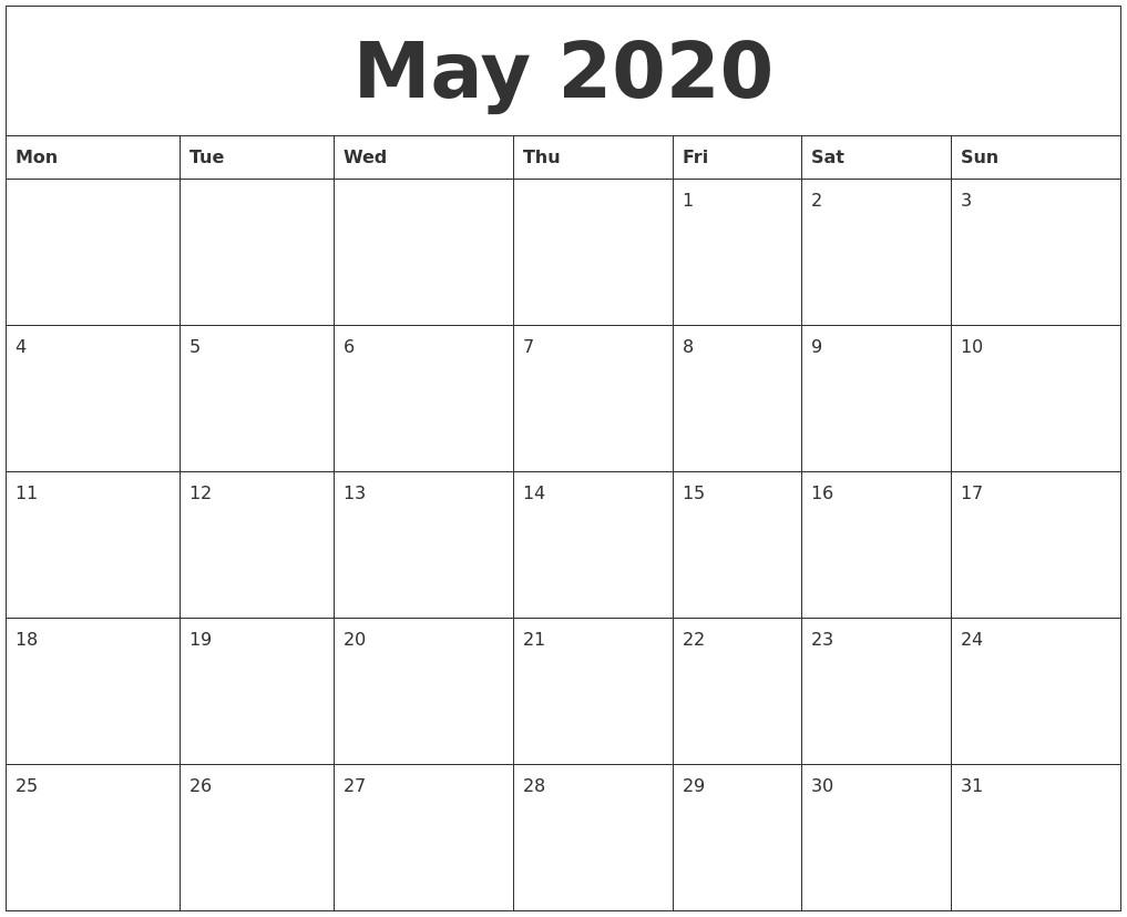 2020 Word Printable Calendar May 2020 Word Calendar