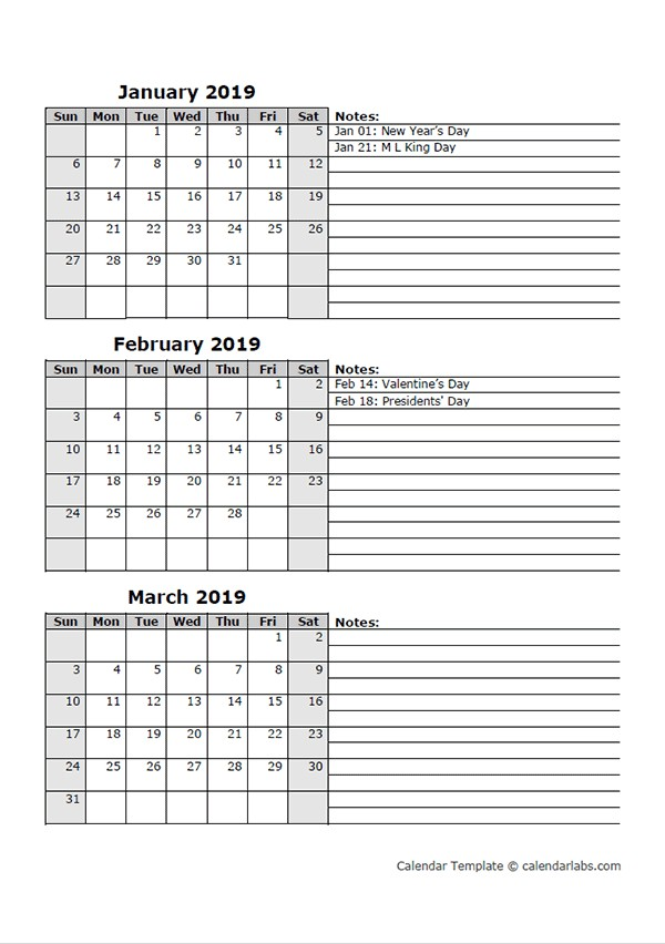 2019 Three Month Calendar Template Free Printable Templates
