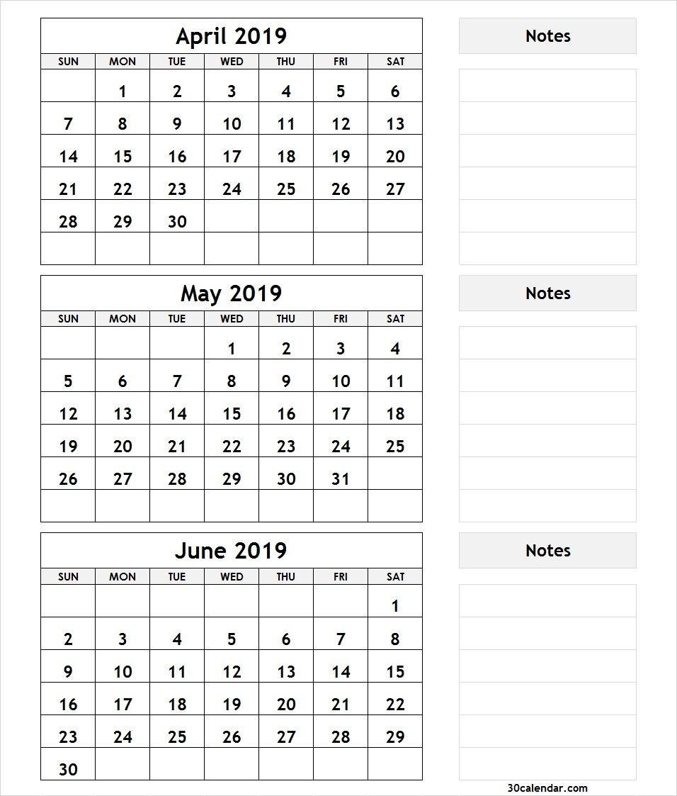 3 Month Printable Calendar 2019 3 Month April May June 2019 Calendar