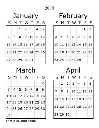 3 Month Printable Calendar 2019 Download 2019 Printable Calendars