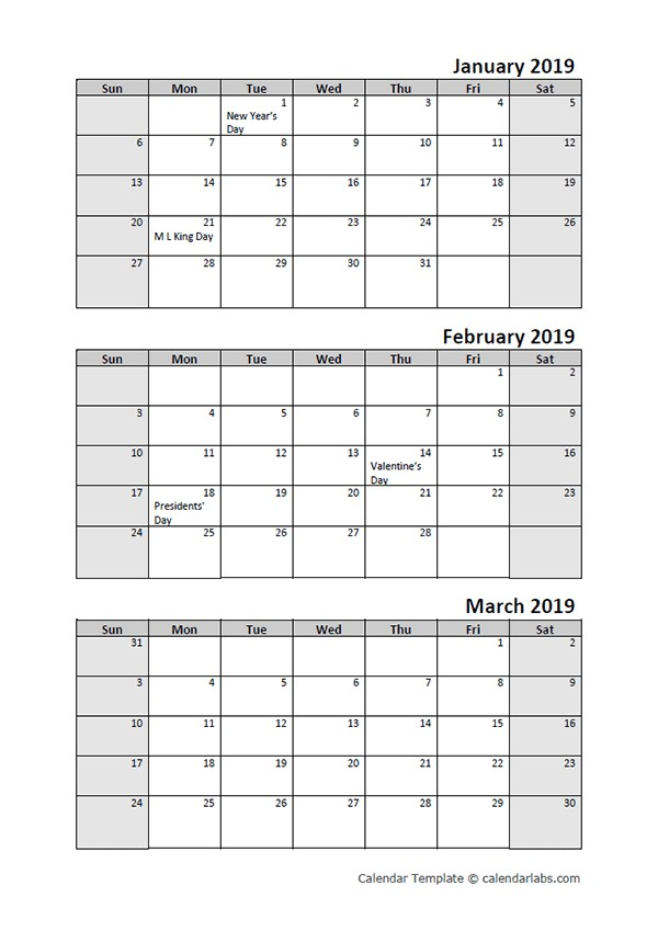 Free 2019 Quarterly Calendar Printable 3 Month Templates