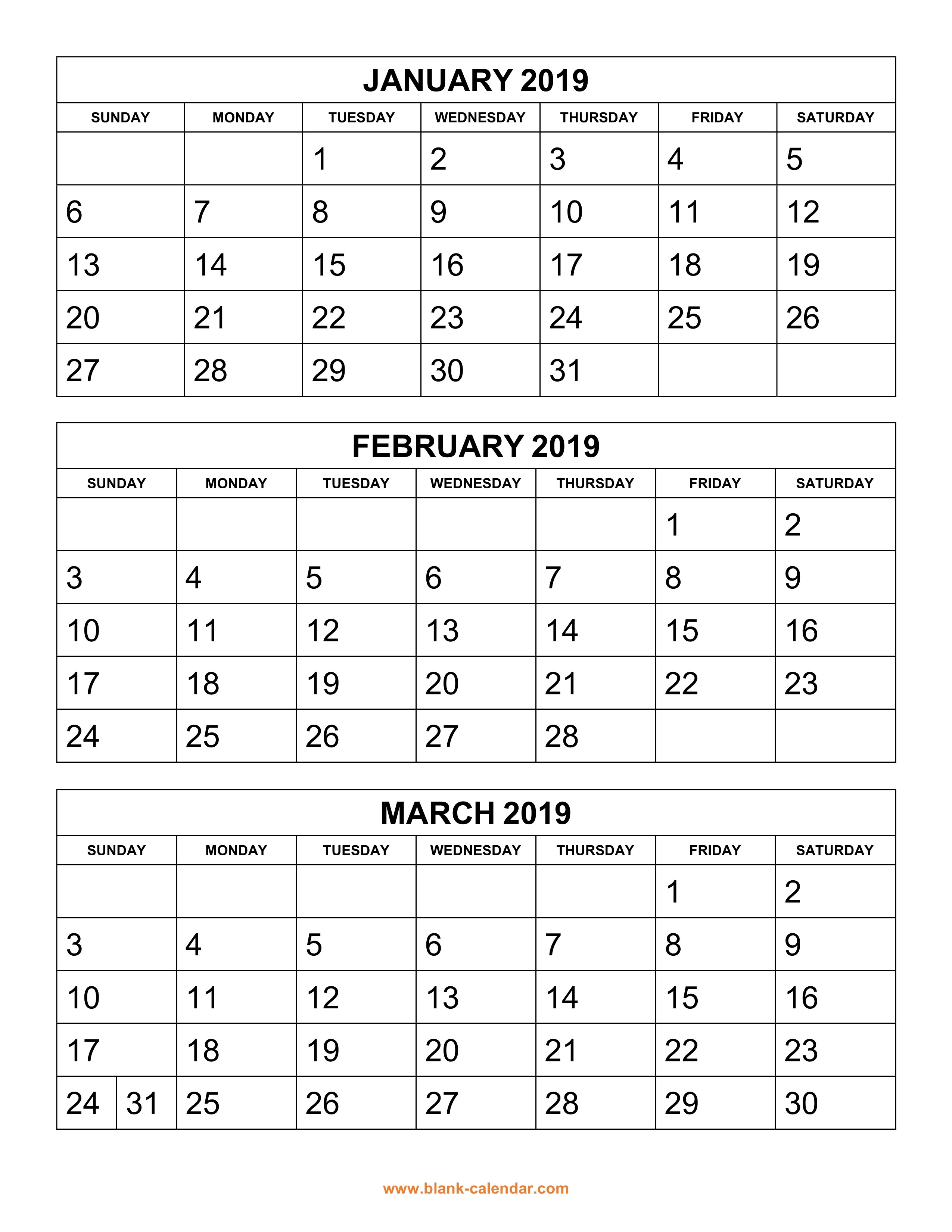 Free Download Printable Calendar 2019 3 months per page