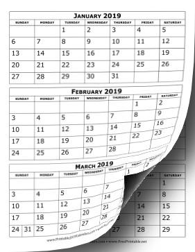 3 Month Printable Calendar 2019 Printable 2019 Calendar Three Months Per Page