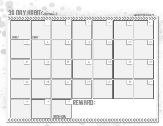 30 Day Calendar Template 30 Day Habit Calendar to Insanity & Back