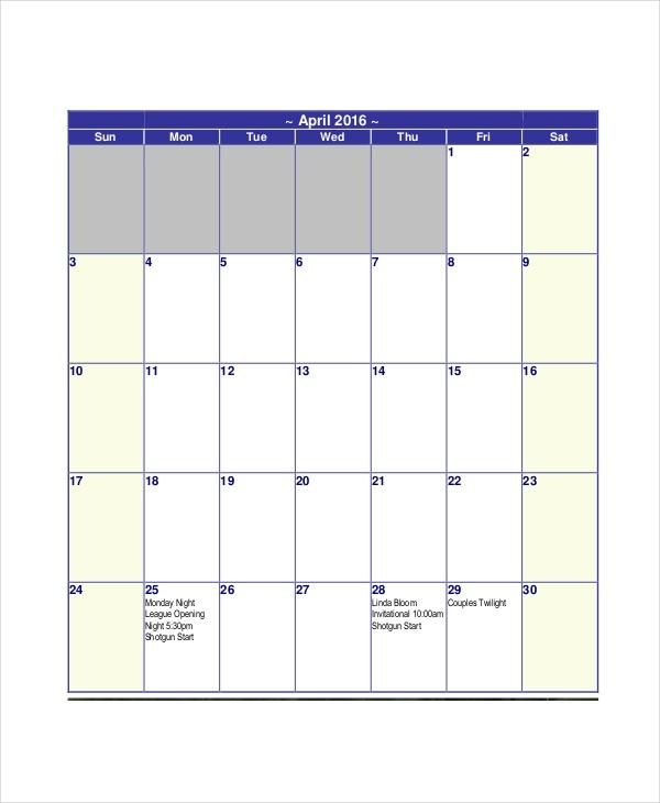 Blank Calendar Template 11 Free Word Excel PDF