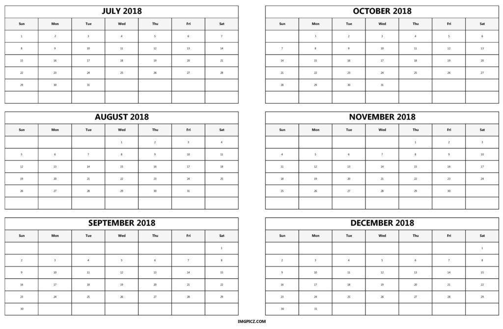 6 Month Calendar Template 6 Month 2018 Calendar Printable