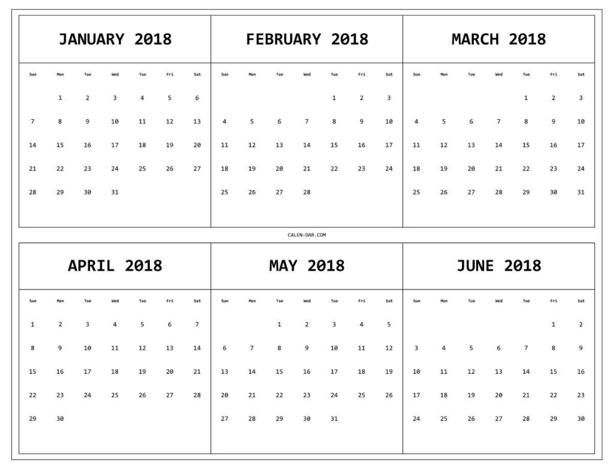 6 Month e Page Printable Calendar 2018