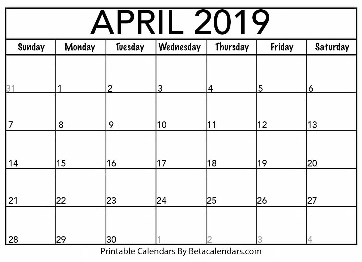 April 2019 Calendar Beta Calendars