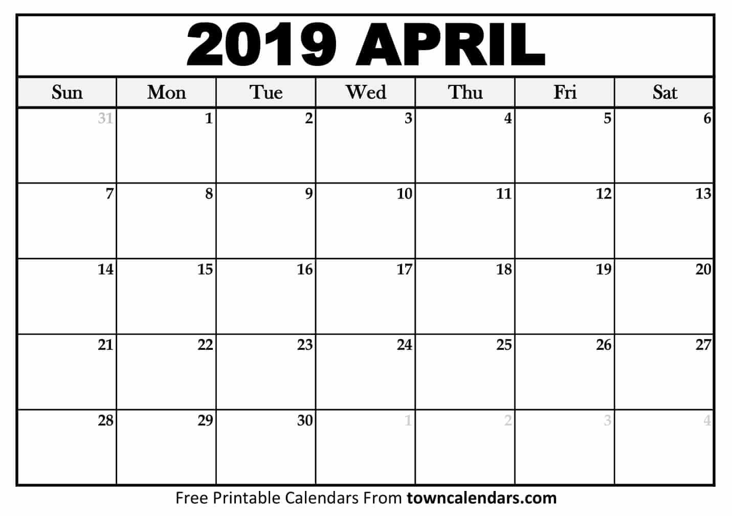 April 2019 Calendar Printable Printable April 2019 Calendar towncalendars