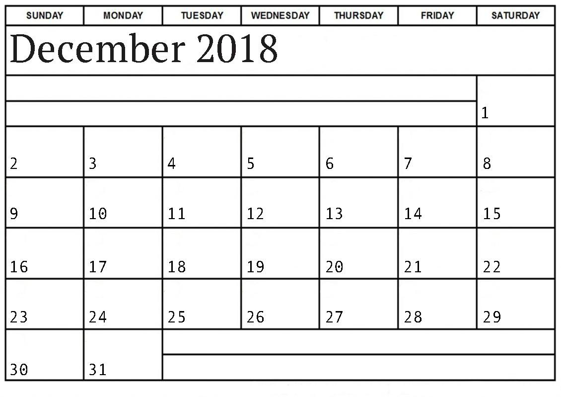 Blank December 2018 Calendar Printable Templates