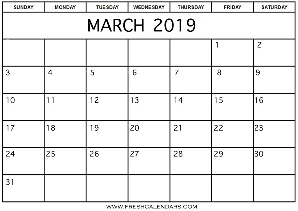 Basic Printable Calendar Blank March 2019 Calendar Printable Templates