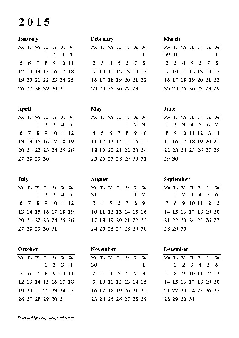 Basic Printable Calendar Calendar 2015 Weeks Start On Monday Black and White