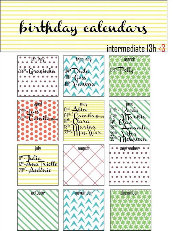 21 Birthday Calendar Templates Free Sample Example