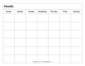 Blank 6 Week Calendar