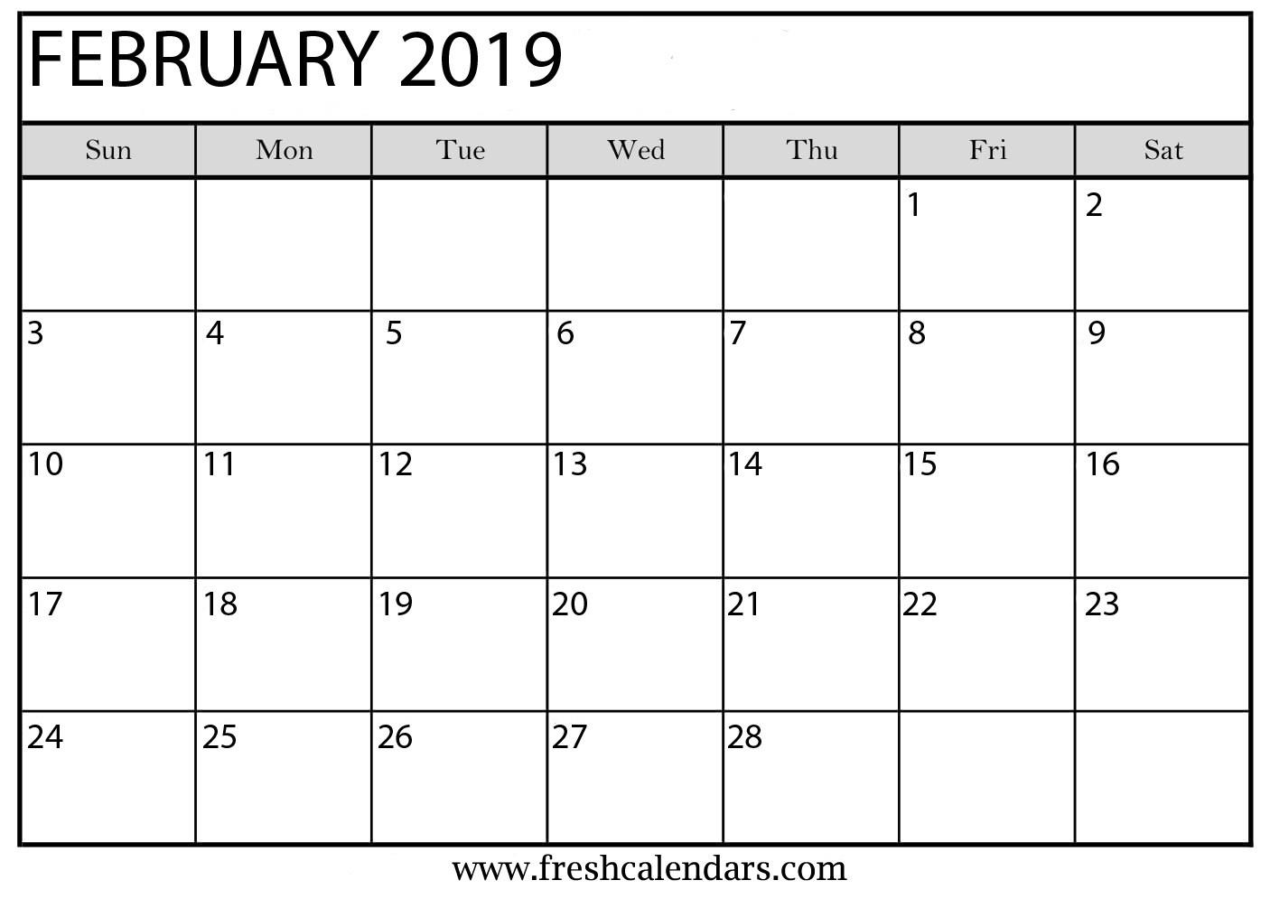 Blank February 2019 Calendar Printable Printable February 2019 Calendar Fresh Calendars