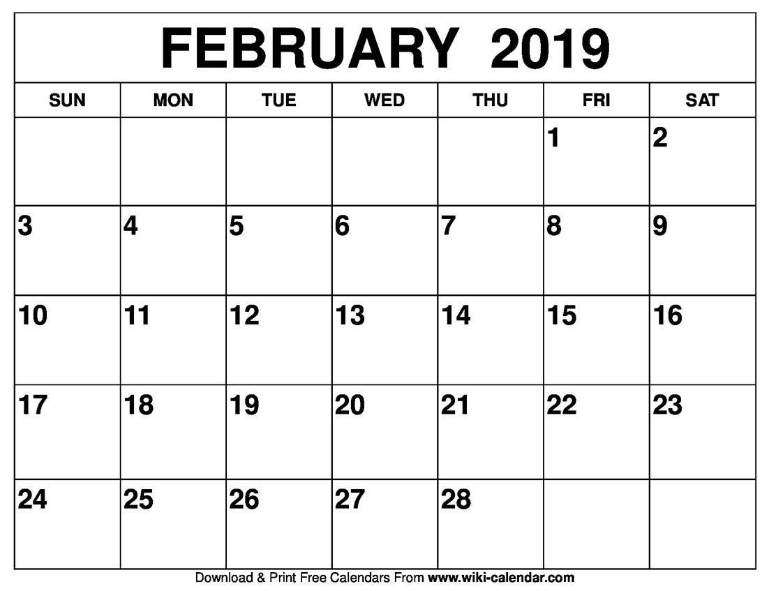 Blank February 2019 Calendar Printable Wiki Calendar Blog Blank February 2019 Calendar Printable