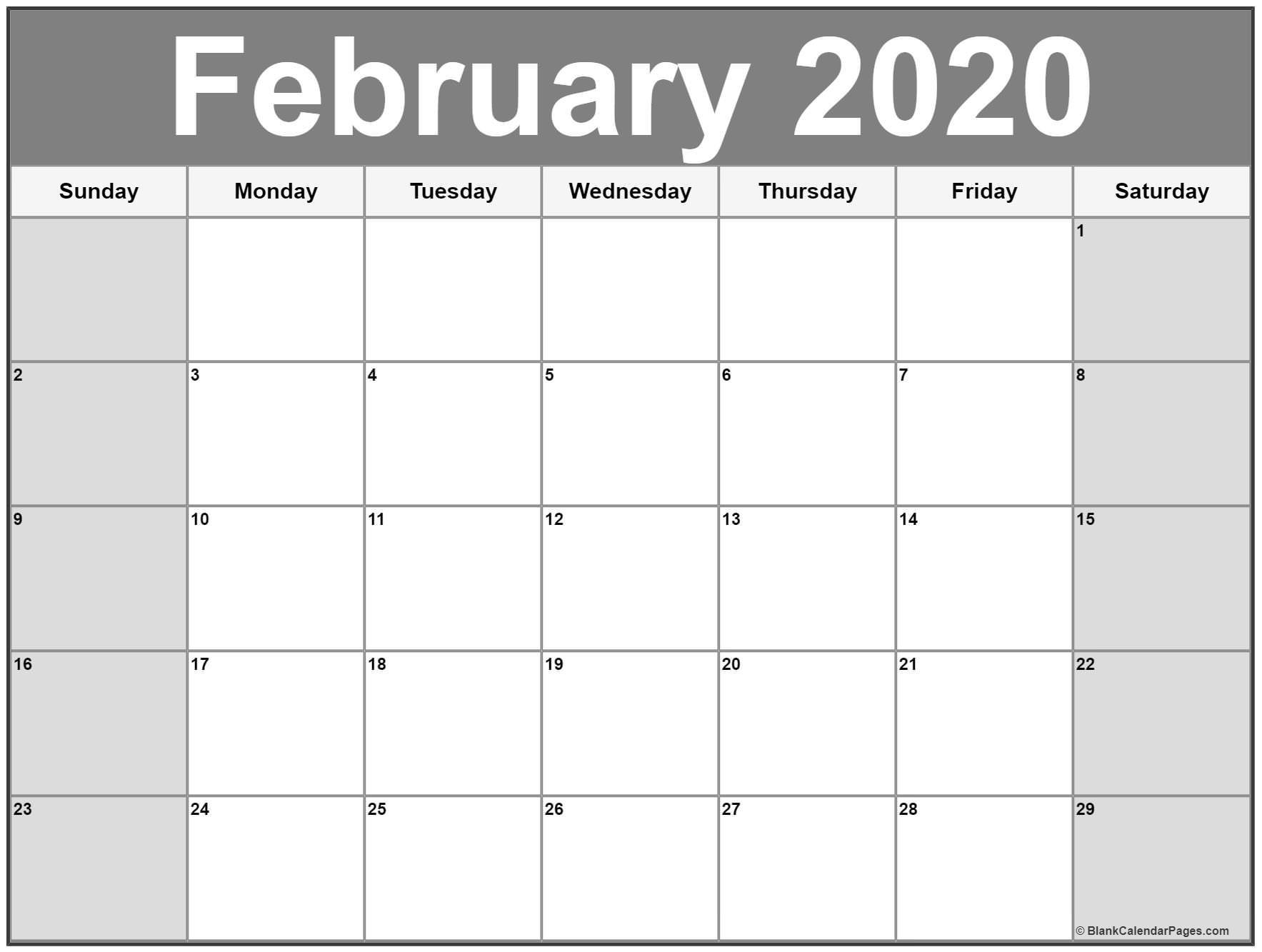 Blank February 2020 Calendar Printable February 2020 Calendar