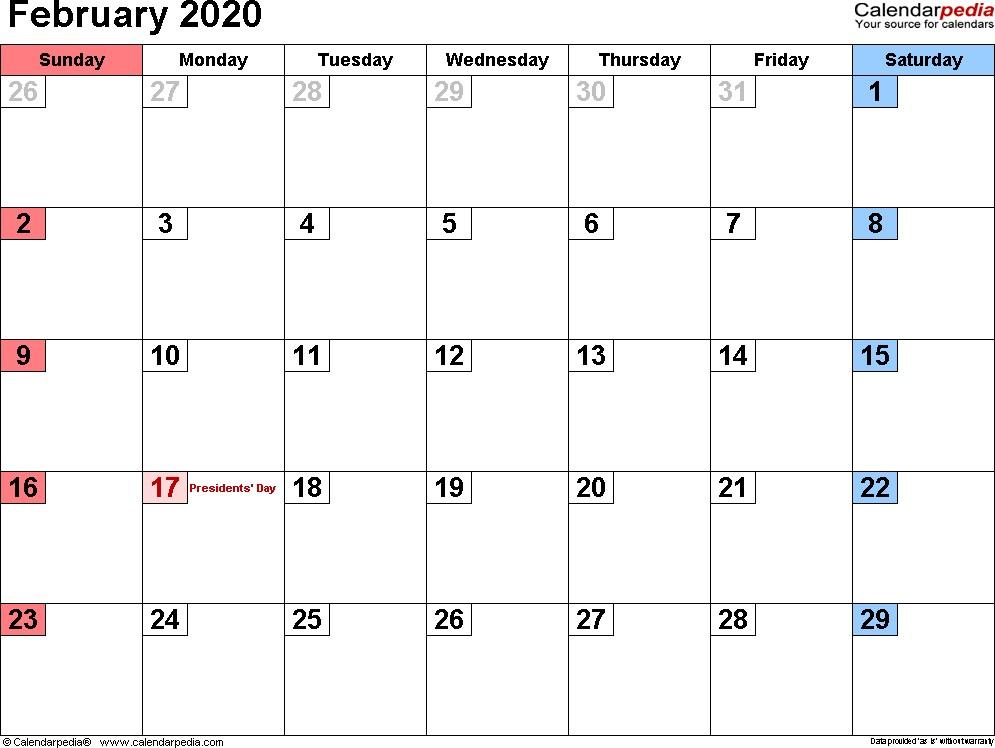 Blank February 2020 Calendar Printable February 2020 Calendars for Word Excel & Pdf