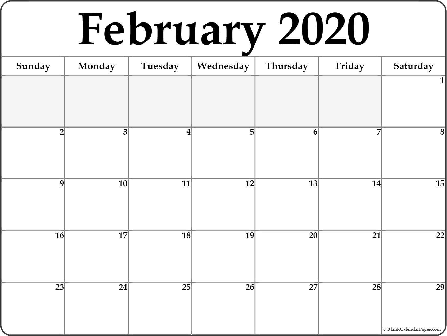 Blank February 2020 Calendar Printable February 2020 Free Printable Blank Calendar Collection