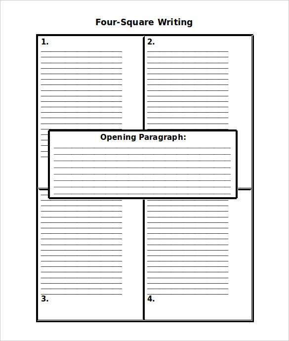Blank Four Square Writing Template