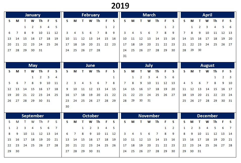 2019 Calendar Printable Templates Word Excel Wallpapers