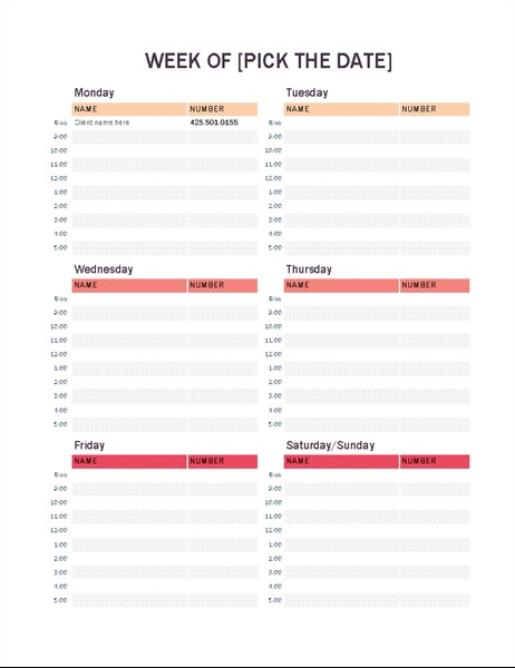 Calendar Appointment Template Weekly Appointment Calendar