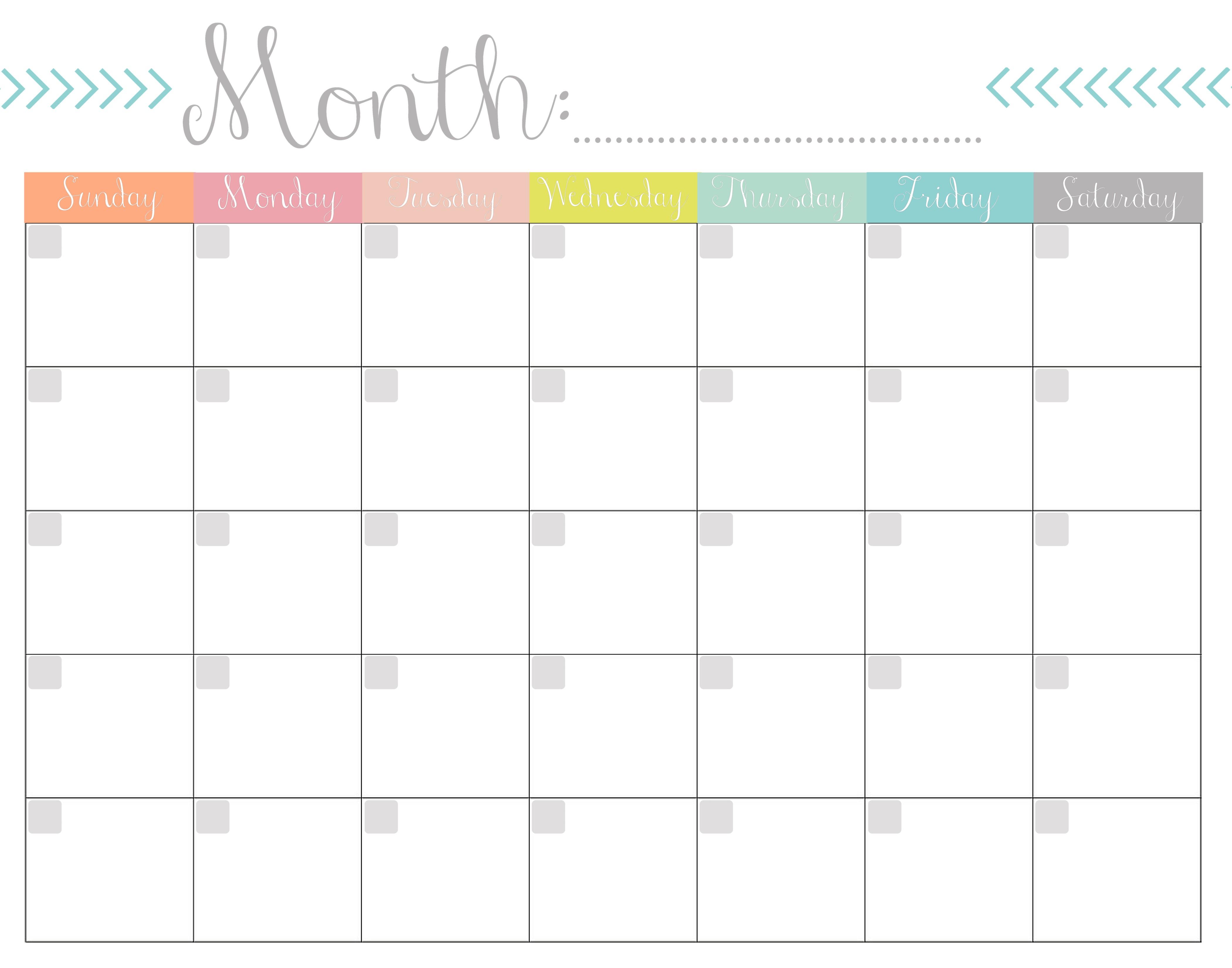 Calendar Printable Monthly Monthly Calendar Free Printable