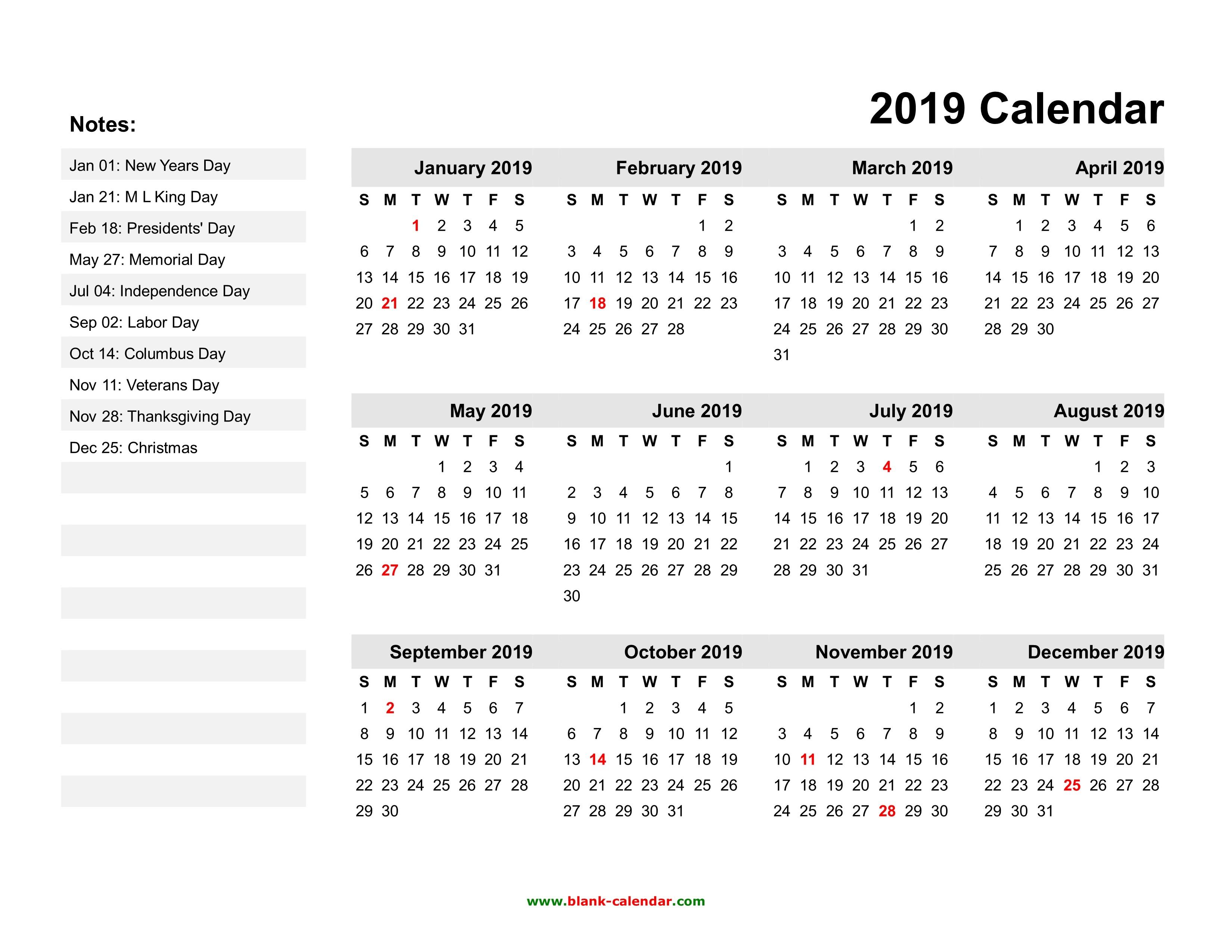 Calendar Template 2019 with Holidays