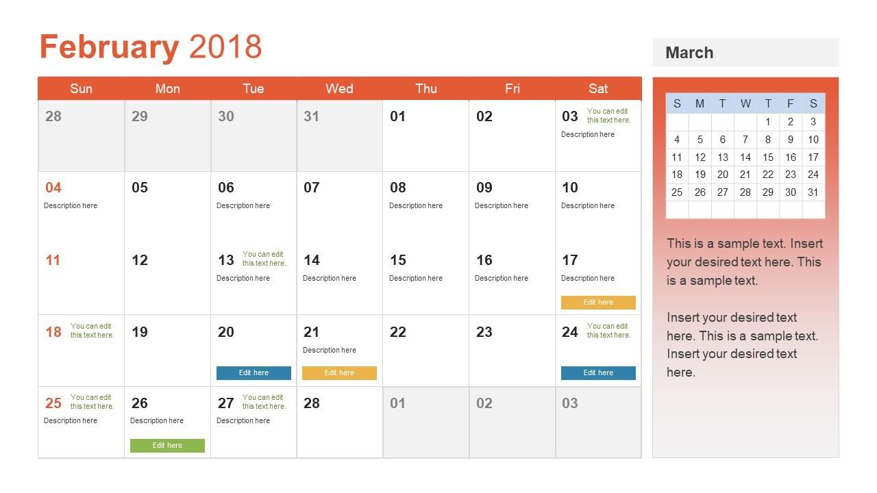 Monthly Calendar for 2018 PPT SlideModel
