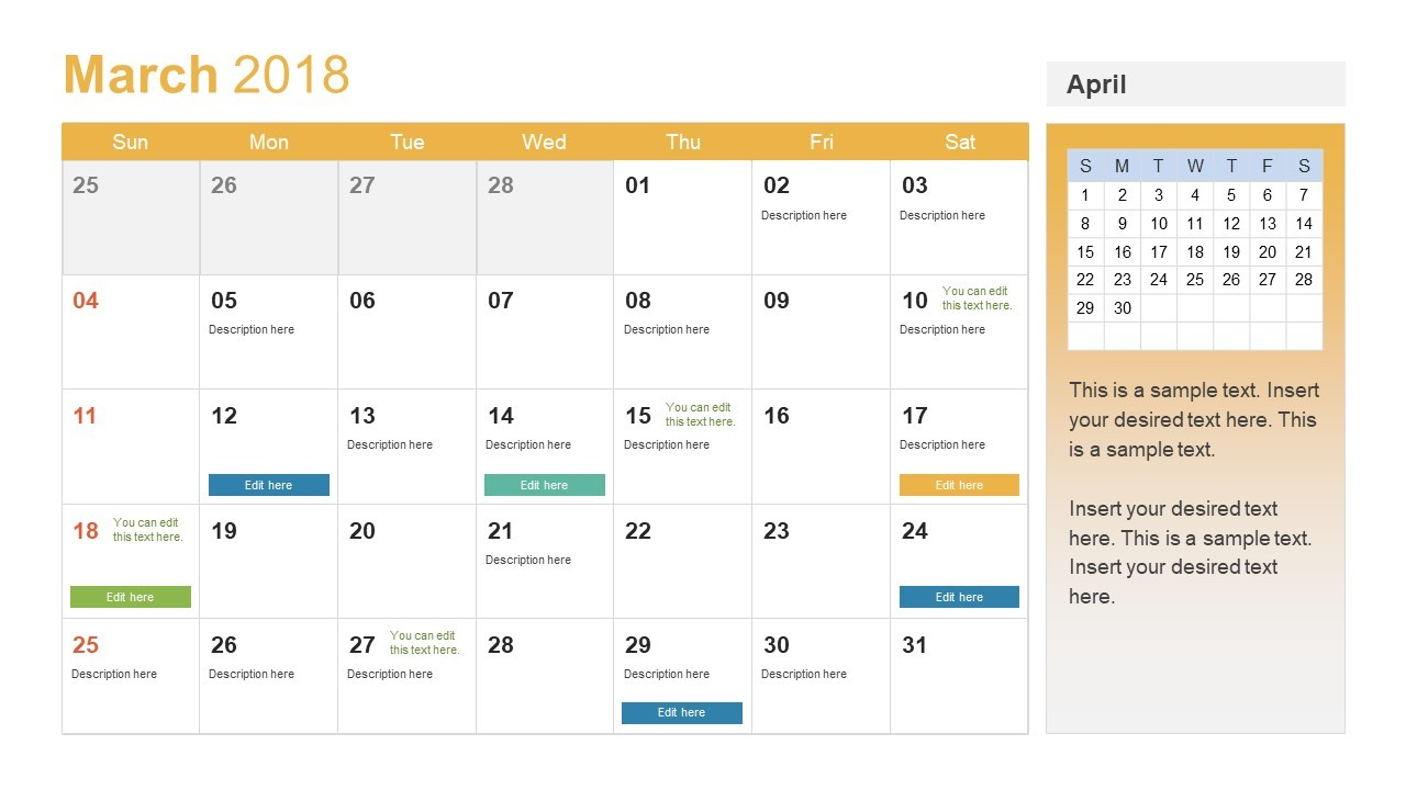 PowerPoint Calendar Template Year 2018 SlideModel
