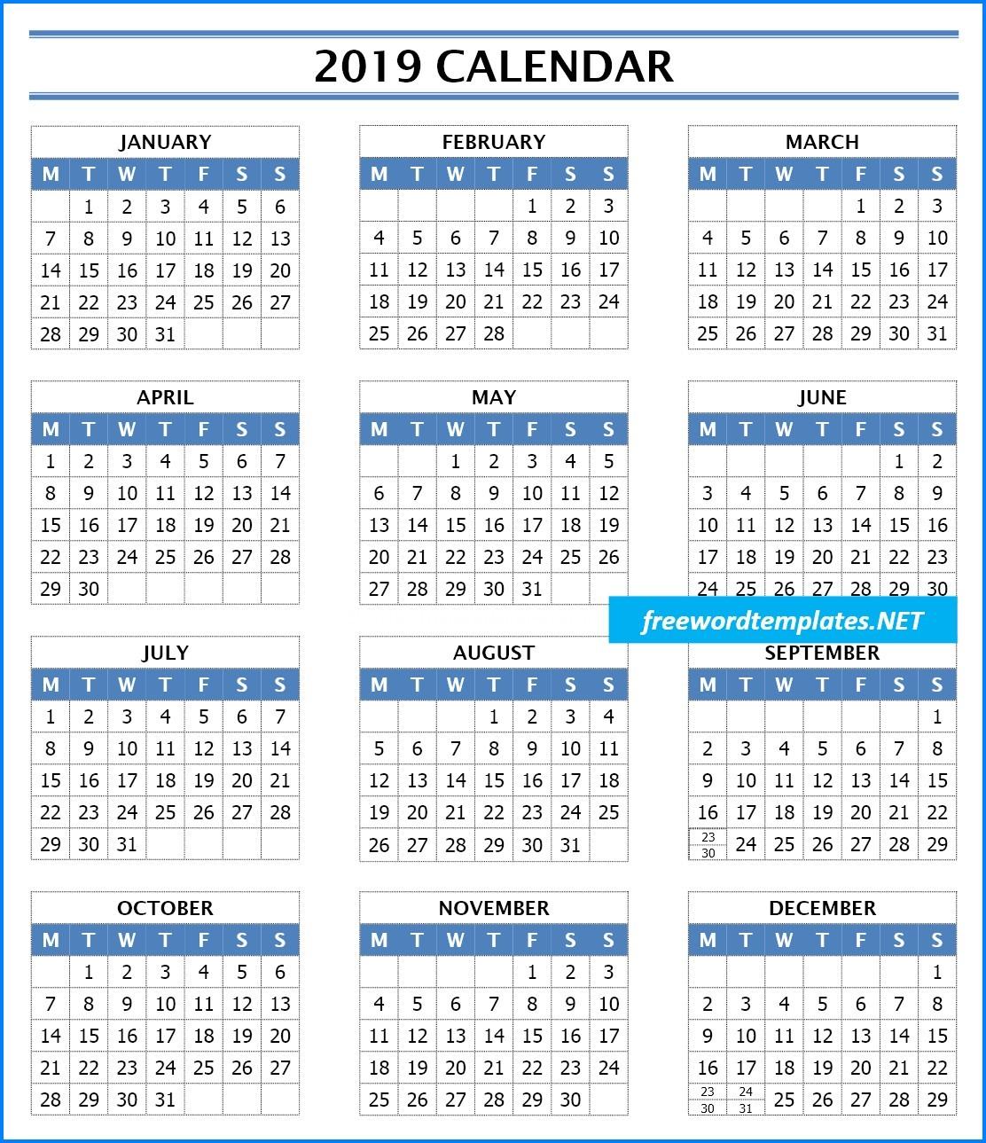 2019 Calendar Templates
